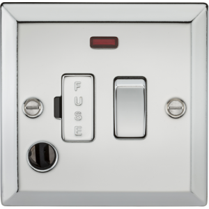 13A Switched Fused Spur Unit with Neon & Flex Outlet - Bevelled Edge Polished Chrome-CV63FPC-Knightsbridge