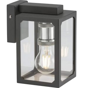 Knightsbridge Outdoor Lighting 230V IP23 E27 Wall Lantern - Anthracite