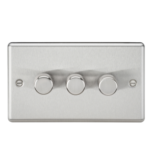 Knightsbridge CL2183BC 2 Way Trailing Edge Dimmer, Rounded Edge Brushed Chrome, 3G, 10-200 W, 5-150 W LED