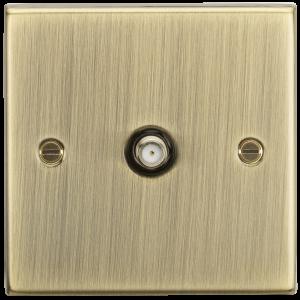 SAT TV Outlet - Square Edge Antique Brass-CS015AB-Knightsbridge