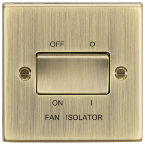 10A 3 Pole Fan Isolator Switch - Square Edge Antique Brass-CS11AB-Knightsbridge