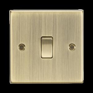 10A 1G Intermediate Switch - Square Edge Antique Brass-CS12AB-Knightsbridge