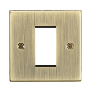 1G Modular Faceplate - Square Edge Antique Brass-CS1GAB-Knightsbridge
