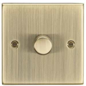 1G 2-way 10-200W (5-150W LED) trailing edge dimmer - Square Edge Antique Brass-CS2181AB-Knightsbridge