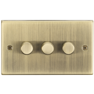 3G 2-way 10-200W (5-150W LED) trailing edge dimmer - Square Edge Antique Brass-CS2183AB-Knightsbridge