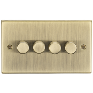 4G 2-way 10-200W (5-150W LED) trailing edge dimmer - Square Edge Antique Brass-CS2184AB-Knightsbridge
