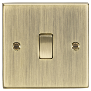 10A 1G 2-Way Plate Switch - Square Edge Antique Brass-CS2AB-Knightsbridge