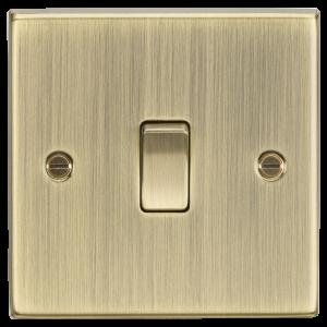 10A 1G 2-Way Plate Switch - Square Edge Antique Brass-CS2AB-Knightsbridge