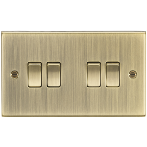 10A 4G 2 Way Plate Switch - Square Edge Antique Brass-CS41AB-Knightsbridge