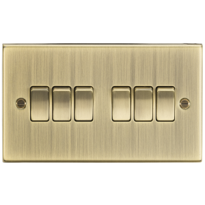 10A 6G 2 Way Plate Switch - Square Edge Antique Brass-CS42AB-Knigthsbridge