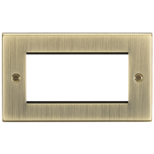 4G Modular Faceplate - Square Edge Antique Brass-CS4GAB-Knightsbridge