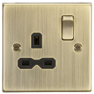 13A 1G DP Switched Socket with Black Insert - Square Edge Antique Brass-CS7AB-Knightsbridge