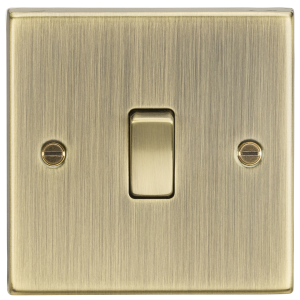 20A 1G DP Switch - Square Edge Antique Brass-CS834AB-Knightsbridge
