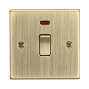 20A 1G DP Switch with Neon - Square Edge Antique Brass-CS834NAB-Knightsbridge