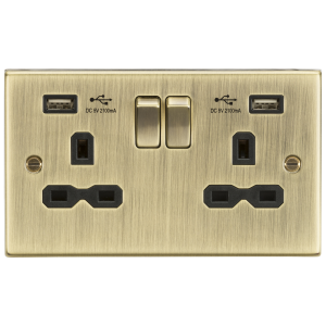 13A 2G Switched Socket Dual USB Charger Slots with Black Insert - Square Edge Antique Brass-CS92AB-Knightsbridge