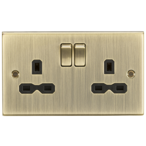 13A 2G Switched Socket with Black Insert - Square Edge Antique Brass-CS9AB-Knightsbridge