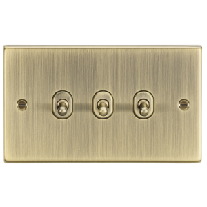 10A 3G 2 Way Toggle Switch - Square Edge Antique Brass-CSTOG3AB-Knightsbridge