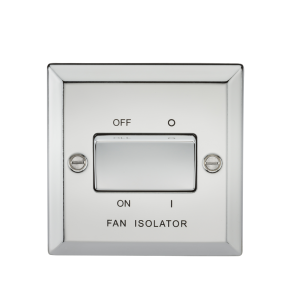 10A 3 Pole Fan Isolator Switch - Bevelled Edge Polished Chrome-CV11PC-Knightsbridge
