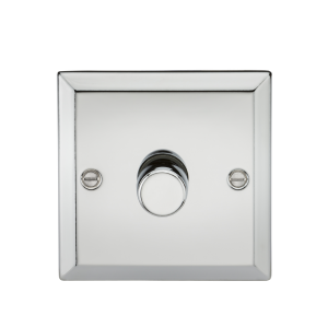 1G 2 Way 40-400W Dimmer - Bevelled Edge Polished Chrome-CV2171PC-Knightsbridge