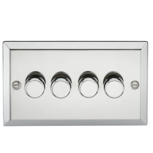 4G 2 Way 40-400W Dimmer - Bevelled Edge Polished Chrome-CV2174PC-Knightsbridge