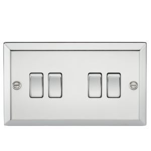 10A 4G 2 Way Plate Switch - Bevelled Edge Polished Chrome-CV41PC-Knightsbridge