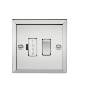 13A Switched Fused Spur Unit - Bevelled Edge Polished Chrome-CV63PC-Knightsbridge