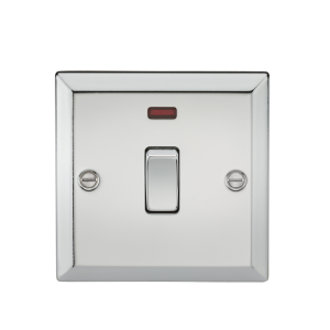 20A 1G DP Switch with Neon - Bevelled Edge Polished Chrome-CV834NPC-Knightsbridge