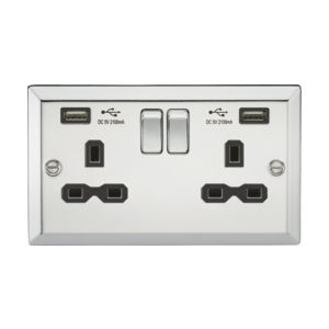 13A 2G Switched Socket Dual USB Charger Slots-Bevelled Edge Polished Chrome-CV92PC-Knightsbridge