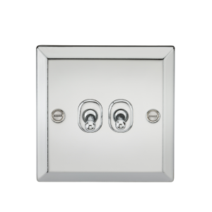 10A 2G 2 Way Toggle Switch - Bevelled Edge Polished Chrome-CVTOG2PC-Knightsbridge