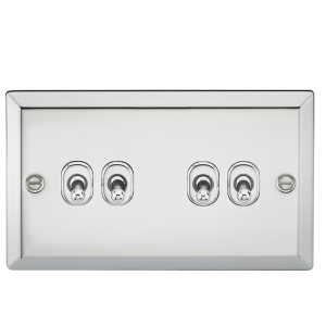 10A 4G 2 Way Toggle Switch - Bevelled Edge Polished Chrome-CVTOG4PC-Knightsbridge