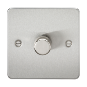 Flat Plate 1G 2 Way 40-400W Dimmer-Brushed Chrome-FP2181BC-Knihgtsbridge