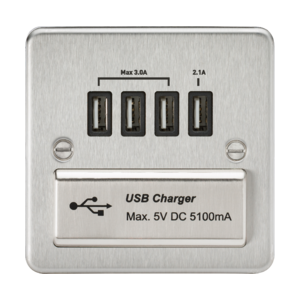 Flat Plate Quad USB charger outlet-FPQUAD-Knightgsbridge