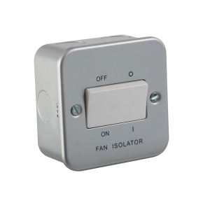 Knightsbridge M1100 Metal Clad 10A Fan Isolator Switch, 230 V, Silver