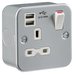 Metal clad 13A 1G switched socket with dual USB charger 5V DC 2.1A (shared)-MR7000USB-Knightsbridge