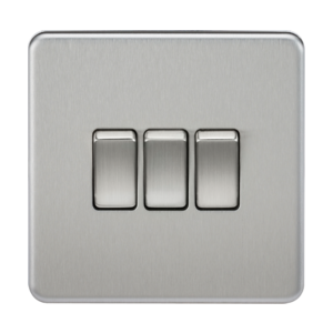 Screwless 10A 3G 2-Way Switch - Brushed Chrome - SF4000 - Knightsbridge
