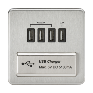 Screwless Quad USB Charger Outlet (5.1A)-SFQUAD-Knightsbridge