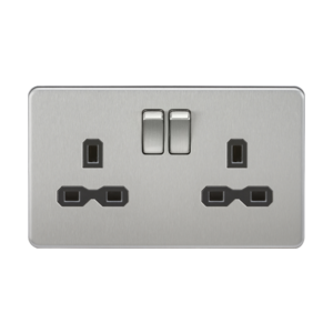 Screwless 13A 2G DP switched socket-SFR9000-Knightsbridge