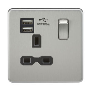 Screwless 13A 1G switched socket with dual USB charger (2.1A)-SFR9901-Knightsbridge
