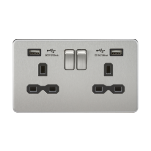 crewless 13A 2G switched socket with dual USB charger (2.1A)-SFR9902-Knightsbridge