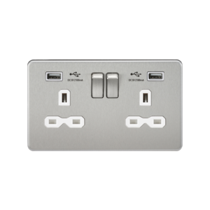 Screwless 13A 2G switched socket with dual USB charger (2.1A)-Brushed chome-White insert