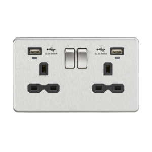 Screwless 13A Smart 2G switched socket with USB chargers (2.4A)-SFR9904N-Knightsbridge