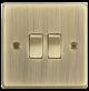 10A 2G 2 Way Plate Switch - Square Edge Antique Brass -CS3AB-Knightsbridge