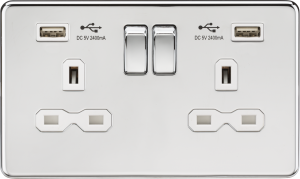 Screwless 13A 2G switched socket with dual USB charger (2.1A)-Polished Brass-White insert