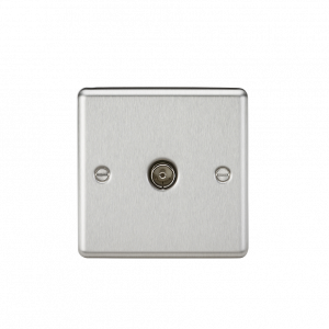 TV Outlet (non-isolated) - Rounded Edge Brushed Chrome-CL010BC-Knightsbridge