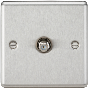 Knightsbridge CL015BC Sat TV Outlet-Rounded Edge Brushed Chrome