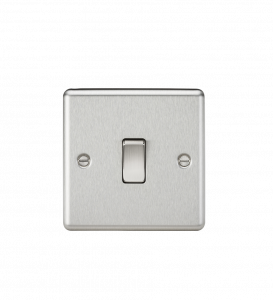 Knightsbridge CL12BC 10A 1G Intermediate Switch-Rounded Edge Brushed Chrome