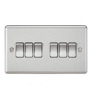 10A 6G 2 Way Plate Switch-Rounded Edge-CL42BC-Knightsbridge