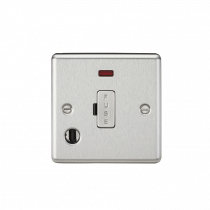 Knightsbridge CL6FBC 13A Fused Spur Unit with Neon & Flex Outlet-Rounded Edge Brushed Chrome