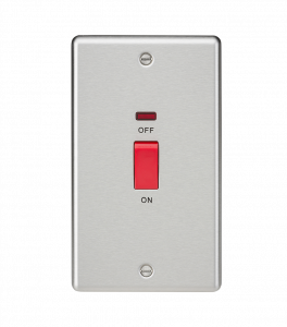 45A DP Switch with Neon (double size) - Rounded Edge Brushed Chrome-CL82NBC-Knightsbridge