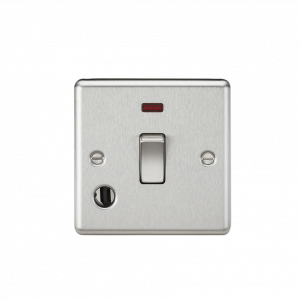 20A 1G DP Switch with Neon & Flex Outlet - Rounded Edge Brushed Chrome-CL834FBC-Knightsbridge